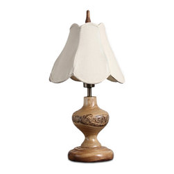 ParrotUncle - Handcrafted Flower Carved Wood Urn Table Lamp - Handcrafted from original solid wood with modern concise style,suitable for interior decoration,can be assembled in bedroom,rest room,dining room,office etc. Carved solid wood table lamp with flower artwork