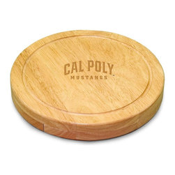 "Picnic Time - Cal Poly Circo Cheese Board - The Circo by Picnic Time is so compact and convenient, you'll wonder how you ever got by without it! This 10.2"" (diameter) x 1.6"" circular chopping board is made of eco-friendly rubberwood, a hardwood known for its rich grain and durability. The board swivels open to reveal four stainless steel cheese tools with rubberwood handles. The tools include: 1 cheese cleaver (for crumbly cheeses), 1 cheese plane (for semi-hard to hard cheese slices), 1 fork-tipped cheese knife, and 1 hard cheese knife/spreader. The board has over 82 square inches of cutting surface and features recessed moat along the board's edge to catch cheese brine or juice from cut fruit. The Circo makes a thoughtful gift for any cheese connoisseur!; College Name: Cal Poly; Mascot: Mustangs; Decoration: Laser Engraving; Includes: 1 Hard cheese knife, 1 Cheese shaver, 1 Fork-tipped cheese knife, 1 Cheese spreader"