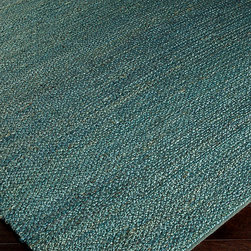 "Paradise Rug - Teal - 2'6"" x 8' - Gorgeously hand-woven from jute fibers dyed in the intense Teal of a tropical ocean, the Paradise Rug brings a shot of deep color to any style and any season.  Solid, serene color and touchable woven texture create an easy, striking focal point for effortless room styling.  This jute rug was handcrafted in India; it has smooth, tight edges and a casual flat pile."
