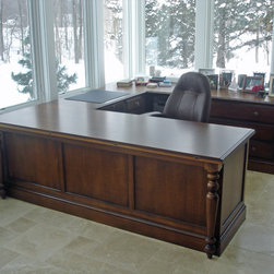 Sewing table / home office desk - Designed for use as a quilting workstation and desk, with ample work and storage space (shown in closed position).