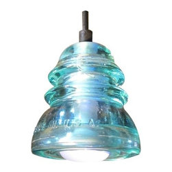 Insulator Lights - Insulator Lights Insulator Blue Aqua  Single Light Pendant made from - Single Light Pendant made from Reclaimed Glass Insulator Glass insulators are no longer manufactured. Some glass insulators are over 100 years old. Each one is unique. Glass insulators are relics of an old technology found mostly along old rail and abandoned telegraph lines, they have a historical significance to the telecom industry worldwide. The oldest insulators pre-date the Civil War and were produced until the 1970 s. Insulatorlights are made from reclaimed glass insulators. Insulators have been cleaned, polished, drilled, lamped, and are ready to hang.  Made from reclaimed and re-purposed insulators Includes 5  black cord with 3 wire, grounded 1 x 40W reflector incandescent bulb (Included) UL Listing available. Due to the unique nature of this product, colors may vary - each piece of glass is unique.
