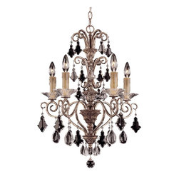 Savoy House - Antoinette 5 Light Mini Chandelier - An exceptionally delicate and refined family that features a combination of graceful pendalogues and charming almond crystals, with beautifully ribbed bobeches, and cream beeswax candles. Our New Mocha finish combines bronze and silver to make this a very versatile family.