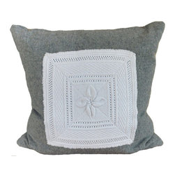 Interior Nature - Grey Wool Decorative, Wool, Floral Pillow - Floral decorative pillow with an antique cotton French crochet applique. Do you love greys on greys? Texture on yummy natural fabrics? This vintage grey wool (front and back) from 1970 has a sweet blend of grey to white fibers. Hand applique. High quality cluster poly insert makes it a hypoallergenic decorative pillow and much more hug-able(!)