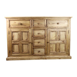 Pine Rustic Sideboard Vivere Line - Beautiful and traditional buffet with rustic accents from our newest line of furniture, the Vivere. Solid wood construction and iron hardware with plenty of storage.