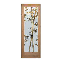 """Interior Glass Doors - Bamboo Shoots Negative - CUSTOMIZE YOUR INTERIOR GLASS DOOR!  Interior glass doors ship for just $99 to most states, $159 to some East coast regions, custom packed and fully insured with a 1-4 day transit time.  Available any size, as interior door glass insert only or pre-installed in an interior door frame, with 8 wood types available.  ETA will vary 3-8 weeks depending on glass & door type.........Block the view, but brighten the look with a beautiful interior glass door featuring a custom frosted glass design by Sans Soucie!   Select from dozens of sandblast etched obscure glass designs!  Sans Soucie creates their interior glass door designs thru sandblasting the glass in different ways which create not only different levels of privacy, but different levels in price.  Bathroom doors, laundry room doors and glass pantry doors with frosted glass designs by Sans Soucie become the conversation piece of any room.   Choose from the highest quality and largest selection of frosted decorative glass interior doors available anywhere!   The """"same design, done different"""" - with no limit to design, there's something for every decor, regardless of style.  Inside our fun, easy to use online Glass and Door Designer at sanssoucie.com, you'll get instant pricing on everything as YOU customize your door and the glass, just the way YOU want it, to compliment and coordinate with your decor.   When you're all finished designing, you can place your order right there online!  Glass and doors ship worldwide, custom packed in-house, fully insured via UPS Freight.   Glass is sandblast frosted or etched and bathroom door designs are available in 3 effects:   Solid frost, 2D surface etched or 3D carved. Visit our site to learn more!"""