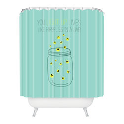 DENY Designs - Allyson Johnson You Light Up Lives Like Fireflies Shower Curtain - Who says bathrooms can't be fun? To get the most bang for your buck, start with an artistic, inventive shower curtain. We've got endless options that will really make your bathroom pop. Heck, your guests may start spending a little extra time in there because of it!