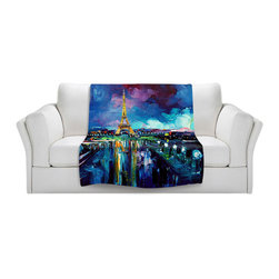 DiaNoche Designs - Throw Blanket Fleece - Parisian Night Eiffel Tower - Original artwork printed to an ultra soft fleece blanket for a unique look and feel of your living room couch or bedroom space. Dianoche Designs uses images from artists all over the world to create Illuminated art, canvas art, sheets, pillows, duvets, blankets and many other items that you can print to. Every purchase supports an artist!