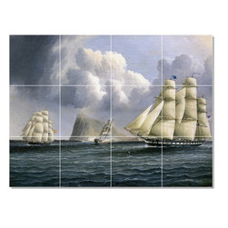 Picture-Tiles, LLC - American Frigate Tile Mural By James Buttersworth - * MURAL SIZE: 36x48 inch tile mural using (12) 12x12 ceramic tiles-satin finish.