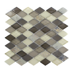 "Geological Diamond Multicolor Slate & Khaki Blend Glass Tiles - Geological Diamond Multicolor Slate + Khaki Blend Glass Tiles This striking diamond design has a combination of multicolor slate and khaki, beige, and brown glass. These tiles are mesh mounted and will bring a sleek and contemporary clean design to any room. Chip Size: 1 1/2 x 2 Color: Multicolor, Khaki, Beige and Brown Material: Slate and Glass Finish: Polished and Frosted Sold by the Sheet - each sheet measures 11""x12x (0.92 sq. ft.) Thickness: 8mm"