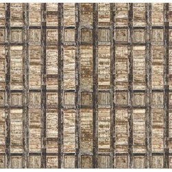 Walls Republic - Fiberous Mural Wallpaper M8964 - Fiberous contains wooden crate imagery in a geometric patterning. It creates a unique wood paneling effect great for adding visual interest in your office space or living room. Due to this item being a custom order, it takes longer to ship than our regular products.