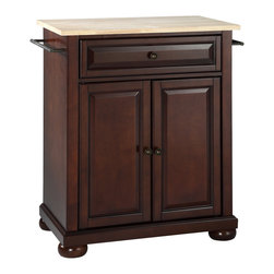 Crosley - Alexandria Natural Wood Top Kitchen Island - Dimensions:  18 x 28.2 x 36 inches