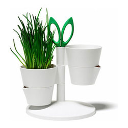 Compact Herb Stand - Get that herb garden started with this unique stand. The bottom of the pot detaches for easy watering: simply add water and reattach. Scissors are included to make trimming and adding herbs to your latest culinary creation a snap.