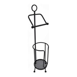 Wrought Iron Toilet Paper Holder with Extra Roll Storage - This wrought iron toilet tissue holder is a wonderful alternative to the wall mounted type, and it has room to store extra rolls. The bar comes undone on one side to replace the roll, and the storage basket can accommodate 2 extra rolls. The piece is 31 1/2 inches tall, 7 inches in diameter, and can fit into tight spaces. It makes a great housewarming gift.