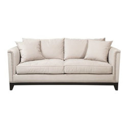 Z Gallerie - Pauline Sofa - Contemporary or traditional, whichever look is yours; our Pauline Upholstery Collection will work with the style of your room. The base is trimmed in a rich dark wood finish. Silver nail heads accentuate the clean lines of the arms. Meticulously handcrafted in California. This sofa has two back pillows and two large throw pillows.