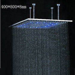 40x80CM Stainless Steel Rain Shower Head With Color Changing LED Lighting
