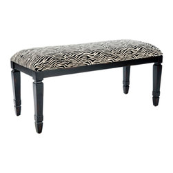 Safavieh - Safavieh Mona Bench in Black & Zebra - Sophisticated zebra stripes make the Mona Bench versatile and vibrant, but its durable cotton fabric and java finish on traditional fluted legs make it an instant classic. It's perfect at the foot of the bed or simply as an elegant addition to an entryway in need of instant style. What's included: Bench (1).