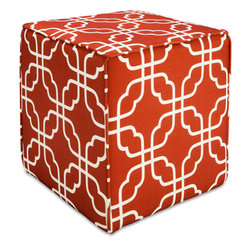 Better Homes and Gardens Pouf Ottoman, Interlock Grid - Ottomans provide extra seating or a place to put up your feet. The burnt orange color of this one screams fall.