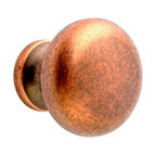 Q.M.I. - Round Knob in Tumbled Copper (Set of 10) - Includes mounting screws. Decorative. Easy to install. Limited lifetime warranty. Made from zinc. 1.25 in. Dia. x 1 in. HAdd the finishing touches to your new vanity or cabinets or instantly update the look of your room with this hardware. Our cabinet knobs beautifully compliment any homes decor.