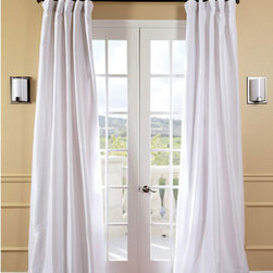 Half Price Drapes - White Faux Silk Taffeta Single Panel Curtain, 50 X 96 - - Defined by a unique sheen and fine weave, our exclusive faux silk taffeta curtain panels are gorgeous and timeless. They have a crisp smooth finish in brilliant shimmering colors. Color is a medium silver grey.   - Single Panel   - 3 Rod Pocket   - Corner Weighted Hem   - Pole Pocket with Back Tab & Hook Belt Attached. Can be hung using rings. (Not Included)   - Dry clean   - Taffeta 53% Polyester & 47% Nylon   - Lined with a cotton blend material  - 50x96   - Imported   - White Half Price Drapes - PTCH-JTSP29-96