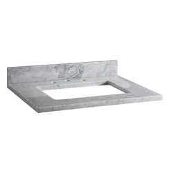 """Xylem - Xylem-MAUT31RWT 31"""" Stone Vanity Top with Backsplash for Rectangular Undermount - Xylem-MAUT31RWT 31"""" Stone Vanity Top with Backsplash for Rectangular Undermount Sink in White Carrera MarbleTop pre-cut for widespread faucet and CUM198RWT rectangular undermount sink.Xylem is a brand of Xylem Group, LLC that designs and manufactures a diverse selection of product for the bath, including vanities, faucets, mirrors, and sinks in traditional, transitional, and contemporary styles.  Add the beauty of natural marble to your bathroom vanity with Xylem countertops. This product is pre-sealed for added durability and stain resistance.Xylem-MAUT31RWT 31"""" Stone Vanity Top with Backsplash for Rectangular Undermount Sink in White Carrera Marble, Features:• Natural surface variations and markings"""
