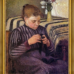 """Camille Pissarro-16""""x20"""" Framed Canvas - 16"""" x 20"""" Camille Pissarro Young Girl Mending Her Stockings framed premium canvas print reproduced to meet museum quality standards. Our museum quality canvas prints are produced using high-precision print technology for a more accurate reproduction printed on high quality canvas with fade-resistant, archival inks. Our progressive business model allows us to offer works of art to you at the best wholesale pricing, significantly less than art gallery prices, affordable to all. This artwork is hand stretched onto wooden stretcher bars, then mounted into our 3"""" wide gold finish frame with black panel by one of our expert framers. Our framed canvas print comes with hardware, ready to hang on your wall.  We present a comprehensive collection of exceptional canvas art reproductions by Camille Pissarro."""