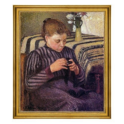 "Camille Pissarro-16""x20"" Framed Canvas - 16"" x 20"" Camille Pissarro Young Girl Mending Her Stockings framed premium canvas print reproduced to meet museum quality standards. Our museum quality canvas prints are produced using high-precision print technology for a more accurate reproduction printed on high quality canvas with fade-resistant, archival inks. Our progressive business model allows us to offer works of art to you at the best wholesale pricing, significantly less than art gallery prices, affordable to all. This artwork is hand stretched onto wooden stretcher bars, then mounted into our 3"" wide gold finish frame with black panel by one of our expert framers. Our framed canvas print comes with hardware, ready to hang on your wall.  We present a comprehensive collection of exceptional canvas art reproductions by Camille Pissarro."