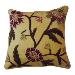 Crewel Fabric World - Crewel Pillow Sham Shalimar Troy Silk Organza 16x16 Inches - Artisans in a remote mountain village in Kashmir crewel stitch these blossoms, vines and leaves by hand, resulting in a lush pattern of richly shaded wool yarns on Linen, Cotton, Velvet, Silk Organza, Jute. Also backed in natural linen, Cotton, Velvet Silk Organza, Jute with a hidden zipper.