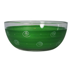 """Frosted Curl Dark Green  11"""" Bowl - This lovely hand painted 11"""" bowl is one of our top sellers.  It is dark green with accent colors and adorned with curls and dots.  Perfect for any season or occasion. It also works perfectly as a dessert dish.  Something to be handed down from generation to generation.  Proudly hand painted in the USA."""