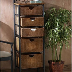 Southern Enterprises - SEI 5-Drawer Wicker Storage Chest - BE8999 - Shop for Bathroom Etageres Racks and Space Savers from Hayneedle.com! The SEI 5-Drawer Wicker Storage Chest will bring a subtle elegance to any room. The charming wicker baskets give this storage chest the look and feel of a fresh afternoon in the Caribbean. Because they are wicker the baskets can keep towels fresh by allowing air to flow through. Ideal for kitchen or guest room storage. The various sized drawers make them ideal for linen sheets or any other necessities. The durable pipe frame is a lovely contrast with the wicker while allowing the wicker to be the focal point of the cabinet. The naturally finished solid upper shelf can be used for display space.