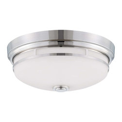 Savoy House - Flush Mount - Polished nickel finish with white glass.