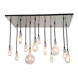 Industrial Lightworks - Industrial Chandelier: Diamond Plate - Industrial Chandelier