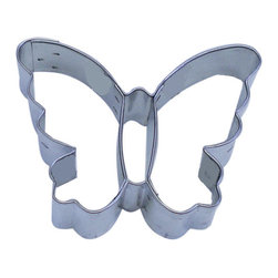 "RM - Butterfly 2.5 In. B0909 - Butterfly cookie cutter 2.5"". The inside thorax/abdomen portion make an impression in the dough, it doesn't cut all the way through. Cutting depth 1"". Heavy duty tinplate steel."
