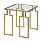 Etting Accent Table - Inspired by the greek key design. Has an antique gold-finish, iron body and square glass top.