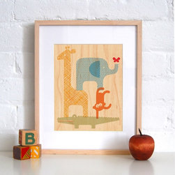 Petit Collage Animal Tower - Print on Wood - Animal Tower - Print on Wood