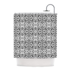 """Kess InHouse - Mydeas """"Fancy Damask Black & White"""" Gray Shower Curtain - Finally waterproof artwork for the bathroom, otherwise known as our limited edition Kess InHouse shower curtain. This shower curtain is so artistic and inventive, you'd better get used to dropping the soap. We're so lucky to have so many wonderful artists that you'll probably want to order more than one and switch them every season. You're sure to impress your guests with your bathroom gallery in addition to your loveable shower singing."""