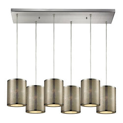 Elk Lighting - Lightgrid 6-Light Chandelier - This Lightgrid Pendant by Elk Lighting manipulates light through a laser cut pattern etched into the cylindrical, stainless steel shade. Providing ambient down light and finished in satin nickel, these light fixtures are ideal for any modern space. This mini pendant weighs 20 pounds and accepts six (6) 60 watt bulbs with a medium base. It includes six (6) feet of cord.