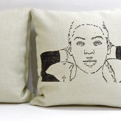 reStyled by Valerie - Beyonce Sketch Decorative Pillow Cushion Cover, Throw Pillow Cover Accent Pillow - Here's a playful pillow that's not just for the single ladies. Rejuvenate your living room or bedroom with this contemporary accent pillow featuring a screen-printed sketch of pop diva Beyoncé by artist Christabel Dunham.