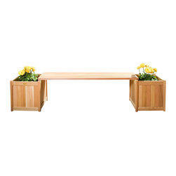 All Things Cedar - 3pc. Planter with Bench - Set includes 2 PL20U Planters with PLB60U Backless Bench Insert Item is made to order.