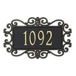 """Ballard Designs - Scrolled Estate Sign Wall One Line - For One Line, Specify up to five 5 1/2"""" numbers/spaces; For Two Lines, Specify up to five 4"""" numbers/spaces for top line and up to seventeen 1 1/2"""" characters/spaces for bottom line. *Please note that personalized items are non-returnable and non-cancelable."""
