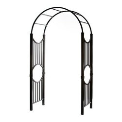 Specrail Manchester 8 ft. Aluminum Garden Arbor Kit - Black - Beautiful and contemporary, the Specrail Manchester 8 ft. Aluminum Garden Arbor Kit - Black is designed with side panels that are perfect for climbing roses and vines. Crafted from high quality aluminum that won't rust, this arbor is also maintenance free and doesn't require painting or staining. Made to look like wrought iron, this gorgeous arbor adds beauty and elegance to your yard or garden.Additional FeaturesIdeal for beautifying your yard or gardenFeatures beautiful design and fine craftsmanshipNot designed to be mixed and matched with other brandsSide panels are perfect for climbing roses and vinesAbout SPECRAILSPECRAIL has been designing aluminum products of the highest quality for over 50 years. They offer the widest selection of any ornamental aluminum fencing company, and their extraordinary line includes 11 styles, 4 grades, and 5 colors. SPECRAIL brings beauty, strength, and a traditional wrought iron look to their maintenance-free aluminum fencing. Every piece they manufacture represents their strong commitment to meeting the needs of their customers and their dedication to quality.