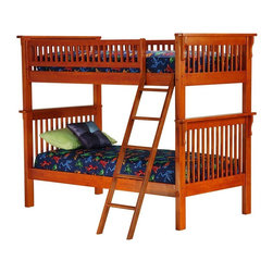 "Atlantic Furniture - Colorado Solid Hardwood Twin Bunk Bed in Miss - Choose twin-size bunk beds for economy of space or for kids who enjoy extra guests.  Mission styling holds timeless appeal and the lipped rails on this unit add depth.  Solid hardwood construction is durable and youth-friendly. * Colorado Design. Constructed from solid Asian hardwood. Mission Style with decorative scrolls, 2x4 posts and square slats. All Bunks are sold complete with 2 - 14 piece hardwood slat kits and freestanding Ladder. Clearance from floor without trundle or storage drawers: 11.25 in.. 68"" H x 43.5"" W x 83"" L, 287 lbs packed. Mattresses not included. Bunk Bed Cautions. Please read before purchase."
