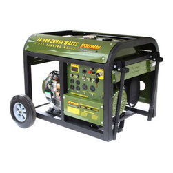 New Buffalo Corp. - Sportsman Series Gasoline 10,000 Watt Generator - The Sportsman Series Gasoline 10,000 Watt Portable Generator can power common major household appliances and power tools, and provide emergency power during blackouts. It is equipped with four 120 volt outlets, one 120 volt twist lock outlet, one 12 volt DC terminal for battery charging, and one 120/240 volt twist lock outlet. Use this generator immediately with the recoil start or install a motorcycle battery (not included) to activate the electric start feature. With a 50% load this generator can run for 8 hours. A generator of this size is ideal for camping and running essential household appliances during power outages.