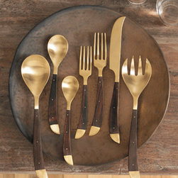 Roost Safari Flatware - Indian rosewood and matte-finished cast brass marry to create this on-trend flatware.