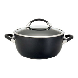 Circulon - Circulon Symmetry Hard Anodized 5.5 Quart Nonstick Casserole Pan - Choose this extraordinary Circulon Symmetry Hard-Anodized Nonstick 5-1/2-Quart Covered Casserole to create both mouthwatering meals and healthier cooking. The casserole's attractive exterior adds sophistication and style to any kitchen dcor, and the heavy-duty hard-anodized aluminum construction is twice as solid as stainless steel for lasting durability. The casseroles metal utensil safe interior features the TOTAL Food Release System of raised circles to reduce surface abrasion, and the DuPont Autograph advanced 3-layer nonstick offers easy cleanup both inside and out while delivering extraordinary food release. Please any crowd by slow-cooking a potato-and-leek casserole or a shrimp-and-chayote variation of a one-pot dish. Rubberized stainless steel handles offer a comfortable grasp, making it easy to carry the casserole to the table. The shatter-resistant glass lid allows cooks to monitor dishes while locking in heat and moisture. The casserole is oven safe to 400F and dishwasher safe, and is a great companion piece to the cookware in this and other Circulon collections.