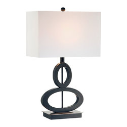 """Lamps Plus - Asian Black and Satin Steel Asymmetrical Ovals Table Lamp - Combining a brushed steel finish base with black finish wood this artful table lamp features an eye-catching twin oval design. Brushed steel and black finish base. Black finish wood ovals. Takes one 100 watt bulb (not included). 24 3/4"""" high. Rectangular box shade measures 15"""" wide x 8"""" deep x 10"""" high.  Brushed steel and black finish base.   Black finish wood ovals.   Takes one 100 watt bulb (not included).   24 3/4"""" high.   Rectangular box shade measures 15"""" wide x 8"""" deep x 10"""" high.  13 1/2"""" shade to base clearance.  Footprint measures 8"""" wide x 5"""" deep."""