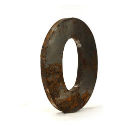 """Kathy Kuo Home - Industrial Rustic Metal Large Letter O 36""""H - Create a verbal statement!  Made from salvaged metal and distressed by hand for an imperfect, time-worn look."""