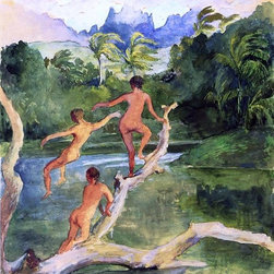 "John La Farge Girls Bathing on the Shore near Papeete in an Outlet of the River - 18"" x 24"" John La Farge Girls Bathing on the Shore near Papeete in an Outlet of the River Fautaua.  The Diadem or Crown Mountain in Distance, Northwest Wind Blowing - Later Afternoon, February premium archival print reproduced to meet museum quality standards. Our museum quality archival prints are produced using high-precision print technology for a more accurate reproduction printed on high quality, heavyweight matte presentation paper with fade-resistant, archival inks. Our progressive business model allows us to offer works of art to you at the best wholesale pricing, significantly less than art gallery prices, affordable to all. This line of artwork is produced with extra white border space (if you choose to have it framed, for your framer to work with to frame properly or utilize a larger mat and/or frame).  We present a comprehensive collection of exceptional art reproductions byJohn La Farge."