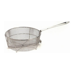 All-Clad - All-Clad 6 Qt. Fry Basket - Stainless steel wire mesh basket fits All-Clad 6 & 8 qt stock pots. The 6 quart, 10 pound capacity easily fries wings, breaded mushrooms and zucchini, or potatoes for a crowd.  Durable heavy-gauge stainless construction Sits deep into the pan Fits All-Clad 6 and 8-quart stock pots Long stick handle stays cool on the cooktop Lifetime warranty Made in China