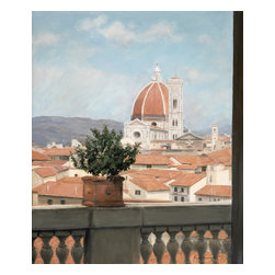 'Il Duomo View' Framed Oil Painting - Travel the globe from the comfort of your own home with this original oil painting of Florence, Italy. Noted artist Isabel Wadsworth captures all the grace and beauty of a cathedral on canvas set in a gilded wood frame.