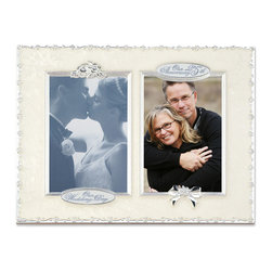 "Lawrence Frames - 25th Anniversary With 2 - 4x6 Openings Picture Frame - High quality heavy weight cast metal picture frame with ""25th Anniversary"" and ""Our Wedding"" will hold 2 4x6 photos is decorated with swirled pearlized enamel. Includes velvet easel backing for tabletop display."